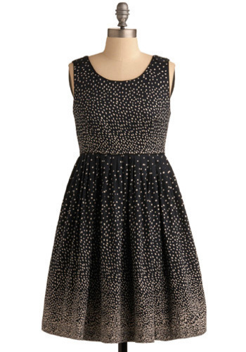 Sprinkled with Sweetness Dress in Navy by Darling - Blue, White, Polka Dots, Pleats, Party, Casual, Vintage Inspired, A-line, Empire, Sleeveless, Mid-length