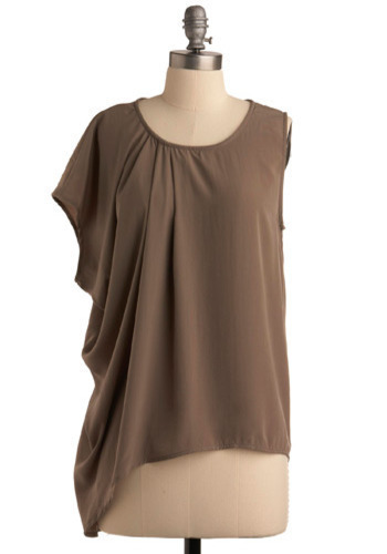 Sculptress Top - Brown, Solid, Cutout, Casual, Short Sleeves, Sleeveless, Fall, Short