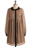 Blogroll Dress - Brown, Black, Solid, Peter Pan Collar, Casual, Empire, Long Sleeve, Mid-length