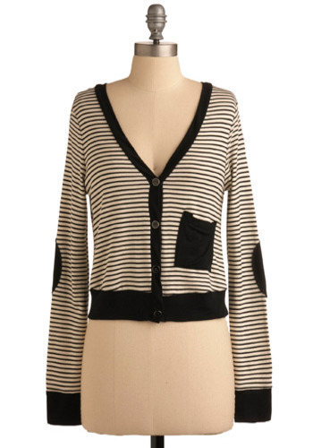 All Lined Up Cardigan - Black, White, Stripes, Trim, Casual, Urban, Long Sleeve, Fall, Winter, Short