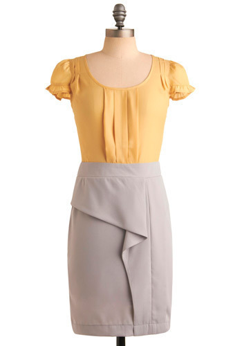 Daffodil Pathway Dress - Yellow, Pleats, Ruffles, Party, Work, Shift, Twofer, Cap Sleeves, Spring, Summer, Grey, Mid-length
