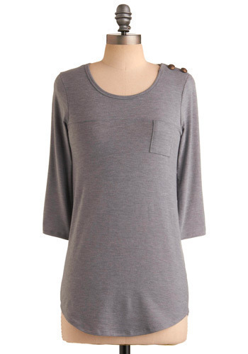 Use Your Imagination Top - Grey, Solid, Casual, 3/4 Sleeve, Mid-length