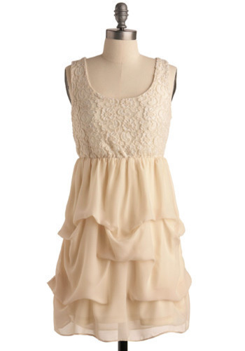 Confectionately Yours Dress - Cream, Floral, Lace, Party, Casual, Empire, Sleeveless, Tank top (2 thick straps), Short