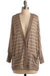 Composition Class Cardigan - Brown, Tan / Cream, Stripes, Casual, Long Sleeve, Fall, Winter, Mid-length