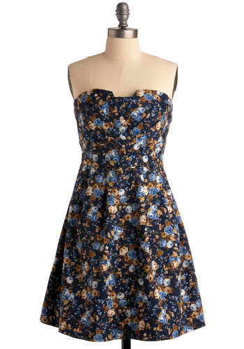 Aerial Image Dress - Multi, Brown, Floral, Casual, A-line, Strapless, Blue, Mid-length, Tis the Season Sale