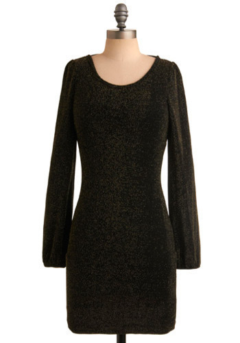 Here's to the Night Dress - Black, Gold, Solid, Bows, Cutout, Party, Casual, Shift, Long Sleeve, Fall, Winter, Short