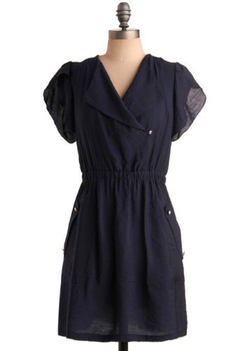 Welcoming Wave Dress - Blue, Solid, Casual, A-line, Short Sleeves, Short