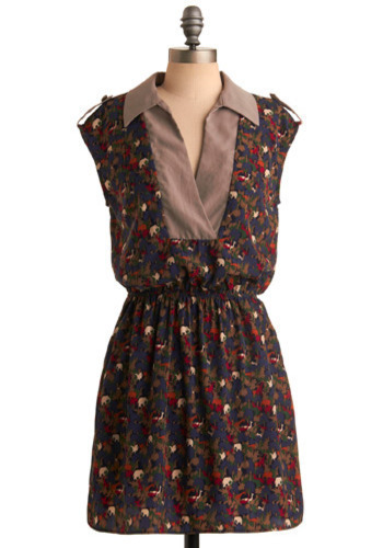 It's a Zoo Dress - Blue, Brown, Multi, Red, Print with Animals, Casual, A-line, Short Sleeves, Mid-length