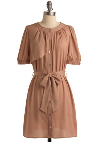 Only a Trace Dress - Tan, Solid, Casual, A-line, Sack, Short Sleeves, Mid-length