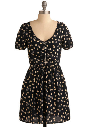 Twinkling Today Dress - Blue, Tan / Cream, Grey, Polka Dots, Buttons, Casual, A-line, Short Sleeves, Mid-length