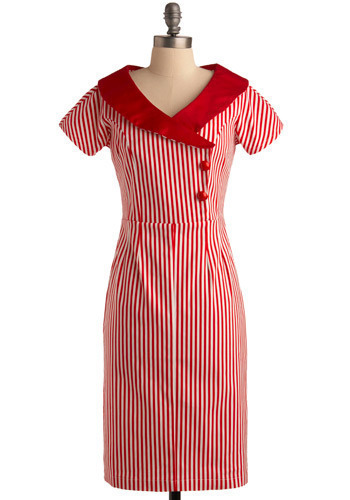 I Think I Cane Dress - Red, White, Stripes, Buttons, Casual, Sheath / Shift, Short Sleeves, Long