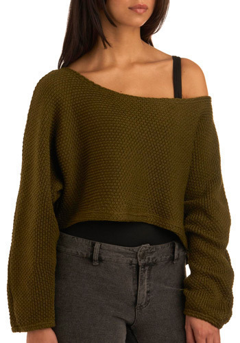 Olive Tree Leaves Sweater - Green, Solid, Knitted, Casual, Long Sleeve, Fall, Winter, Short