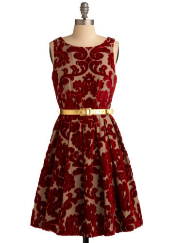Kalanchoe Blooms Dress - Red, Tan / Cream, Floral, Wedding, Party, A-line, Sleeveless, Fall, Winter, Mid-length