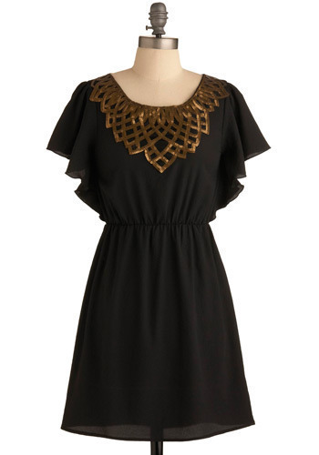 The Golden Ruler Dress - Black, Gold, Sequins, Casual, A-line, Short Sleeves, Short