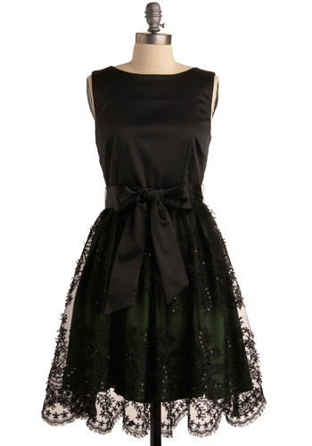 Be Still My Heart Dress by Darling - Black, Green, Bows, Lace, Sequins, Formal, Prom, Wedding, Party, Luxe, A-line, Sleeveless, Mid-length