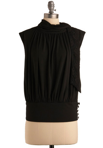 Martini Meet Up Top - Black, Solid, Buttons, Lace, Casual, Cap Sleeves, Mid-length
