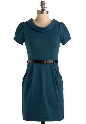 Jill of All Trades Dress in VP - Blue, Solid, Work, Shift, Short Sleeves, Short