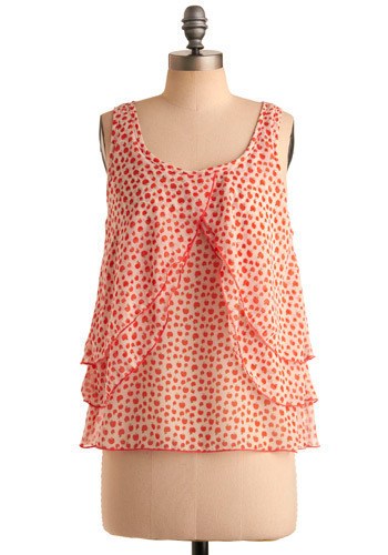 One Good Apple Top - Red, White, Green, Novelty Print, Tiered, Casual, Sleeveless, Spring, Summer, Mid-length
