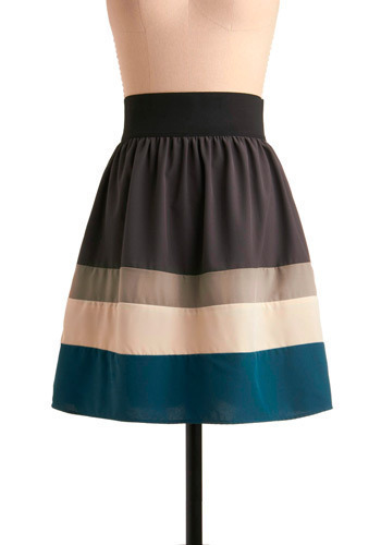 Ocean Aura Skirt - Grey, Blue, Tan / Cream, Stripes, Casual, A-line, Summer, Mid-length, Best Seller