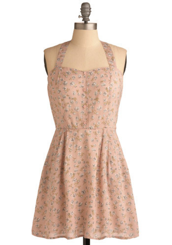 Arm in Arm Dress - Pink, Green, Brown, White, Floral, Casual, A-line, Halter, Racerback, Spring, Summer, Short