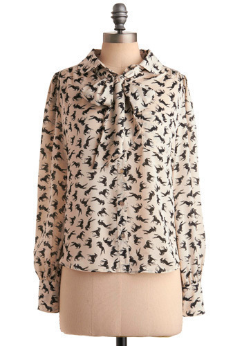 Stallion Stampede Top - Cream, Black, Print with Animals, Novelty Print, Bows, Pockets, Work, Casual, Long Sleeve, Mid-length