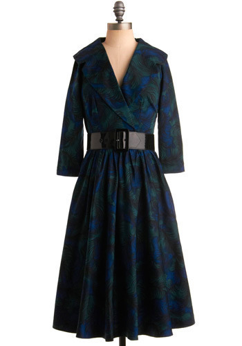 Parade Your Plumage Dress - Green, Blue, Print, Casual, A-line, 3/4 Sleeve, Long