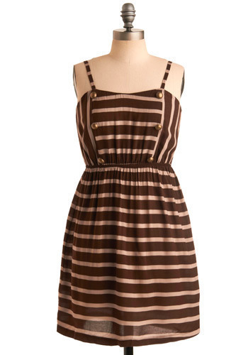 Chocolate Milk Dress - Brown, Tan / Cream, Stripes, Buttons, Casual, A-line, Spaghetti Straps, Short