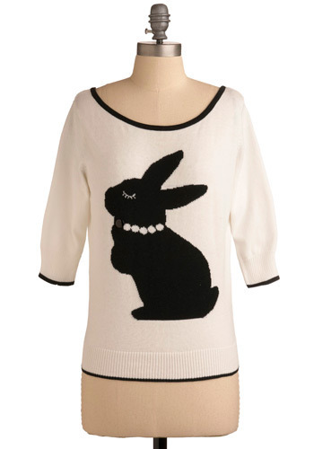 Bunny You're Mine Top - Black, White, Print with Animals, Casual, 3/4 Sleeve, Fall, Winter, Mid-length