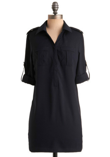 Academy of Style Tunic - Blue, Solid, Casual, 3/4 Sleeve, Long