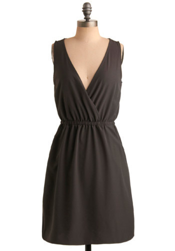 Crossover Success Dress - Grey, Solid, Wedding, Party, Casual, Sheath / Shift, Sleeveless, Mid-length