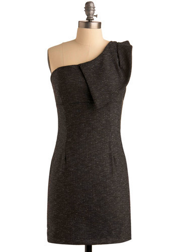 Shoulder Me How Dress - Black, Solid, Wedding, Party, Casual, Sheath / Shift, One Shoulder, Short