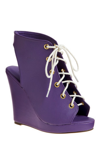 The Greatest Shoe on Earth in Purple - Purple, Solid, Casual, Statement, Wedge
