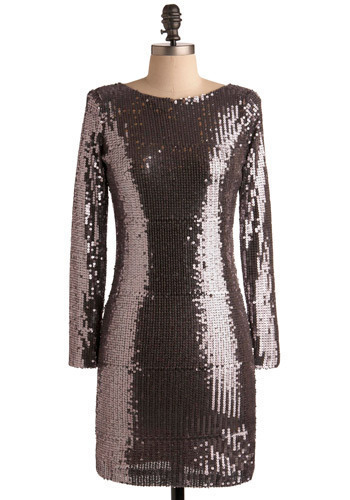 Celebration in Tinsel Town Dress - Silver, Black, Bows, Cutout, Sequins, Formal, Party, Sheath / Shift, Long Sleeve, Short