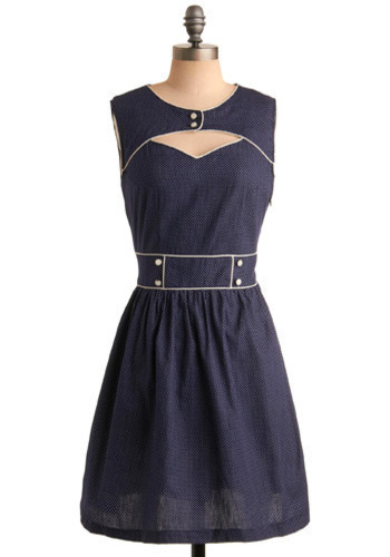 Ready and Rarin' to Go Dress in Navy by Trollied Dolly - Blue, White, Polka Dots, Buttons, Cutout, Trim, Casual, Vintage Inspired, A-line, Sleeveless, Mid-length, International Designer