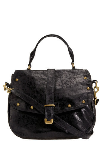 Dionysus Bag - Black, Solid, Buckles, Exposed zipper, Studs, Casual, Luxe, Urban