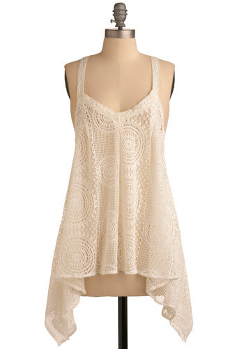Streets of Sausalito Top - White, Crochet, Lace, Casual, Tank top (2 thick straps), Racerback, Spring, Summer, Mid-length