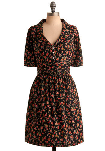 Paint Me a Picture Dress by Trollied Dolly - Black, Multi, Red, Green, Pink, Floral, Casual, Shirt Dress, 3/4 Sleeve, Spring, Summer, Mid-length, International Designer
