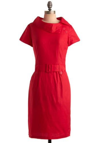 Box of Chocolates Dress in Cherry - Red, Solid, Buckles, Wedding, Party, Work, Sheath / Shift, Short Sleeves, Long