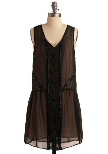 Silent Passageway Dress - Black, Pink, Beads, Cutout, Trim, Party, Film Noir, Vintage Inspired, Drop Waist, Shift, Sleeveless, Spring, Summer, Short, Press Placement
