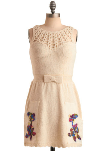 Considering Confections Dress - Cream, Yellow, Green, Blue, Purple, Pink, Floral, Bows, Crochet, Embroidery, Knitted, Wedding, Casual, Sheath / Shift, Sleeveless, Spring, Short