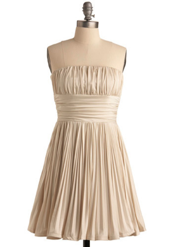 A Time for Toasts Dress - Cream, Solid, Pleats, Special Occasion, Prom, Wedding, Party, Luxe, Empire, Strapless, Mid-length