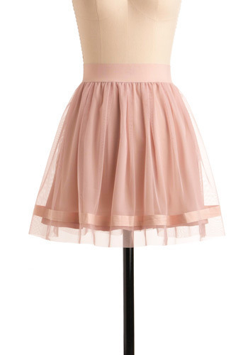 Pas de Trois Skirt by BB Dakota - Pink, Solid, Casual, A-line, Short