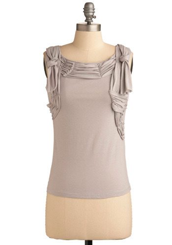 Grace in Greyscale Tank - Grey, Solid, Ruffles, Casual, Sleeveless, Mid-length