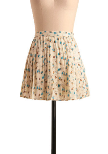 Happy Hootenanny Skirt - Cream, Blue, Brown, Print with Animals, Pleats, Casual, Short