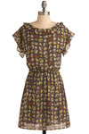 Cobblestone Way Dress - Grey, Multi, Yellow, Brown, Tan / Cream, Print, Cutout, Ruffles, Casual, Sheath / Shift, Short Sleeves, Spring, Summer, Fall, Short