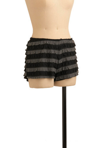 Ruffle Reform Bloomers - Black, Grey, Stripes, Ruffles, Casual, Spring, Summer, Short