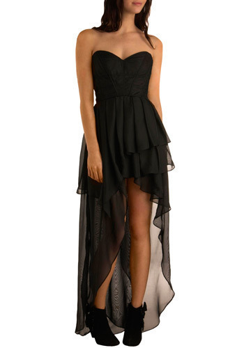 Poetic Penumbra Dress - Black, Solid, Ruffles, Formal, Prom, Party, Luxe, Maxi, Strapless, Mid-length