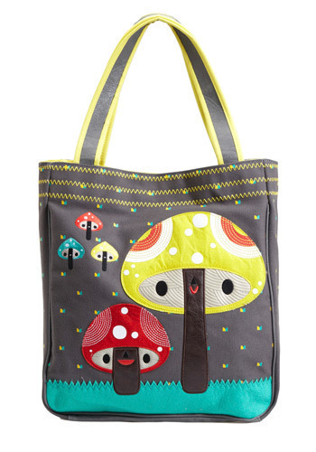 For Richer or Porcini Tote by Crowded Teeth - Grey, Multi, Novelty Print, Casual, Kawaii