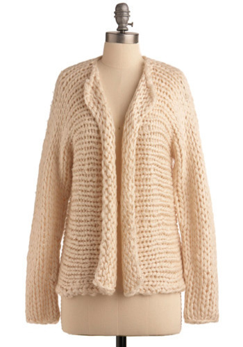 Open Arms Cardigan - Cream, Solid, Knitted, Casual, Long Sleeve, Fall, Winter, Short