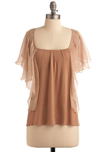 Soaring Above Top - Brown, Solid, Cutout, Casual, Short Sleeves, Mid-length